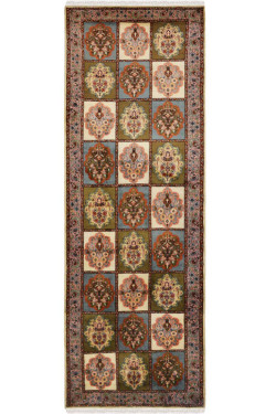 Olive Panel Handmade Silk Area Rug