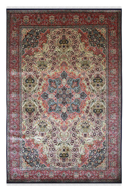 Blue Kashan Bageecha Pure Silk Handkotted Carpet