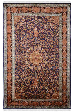Shah Blue Aradabil Pure Silk Area Rug