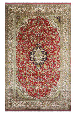 Red Phool Kashan Tradition Silk Carpet