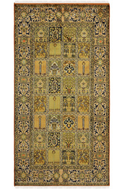 Gold Qum Column Silk Carpet