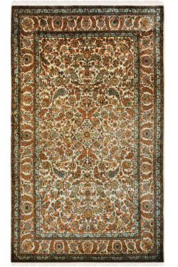 All Over Leaf Kashan Silk Area Rug