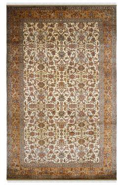 Gold Kashan Border Pure Silk Area Rug