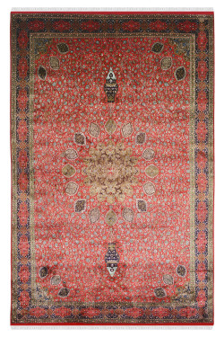 Red Shahi Ardabil Silk Carpet