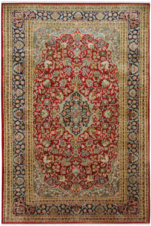 Rouge Floral Kashan Silk on Cotton Carpet