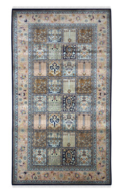 Jaali Neel Hamadan Pure Silk Carpet