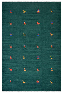 Human Motif Green Wool Area Dhurrie