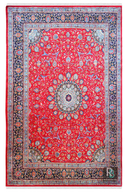 Kashan Large Red Wool Oriental Carpet