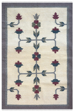 Floral Jaal Flat-Woven Wool Durrie