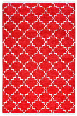 Red Zanjir Flat Woven Cotton Panja Dhurrie