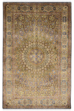 Peacock Ardabil Handmade Silk Carpet