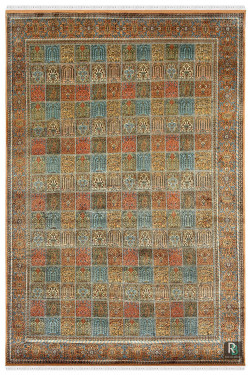 Beautiful Neel Handknotted Kashmiri Silk Rug