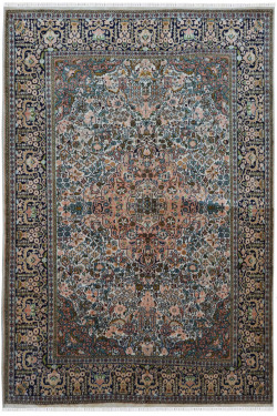 Jewel Ivory Pankh Handknotted Silk on Cotton Rug