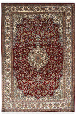 Bunch of Flowers Kashan Silk Rug
