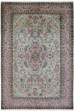 Pista Salmon Silk On Cotton Area Rug
