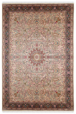 Kashmir Silk Pink Indian Handknotted Carpet