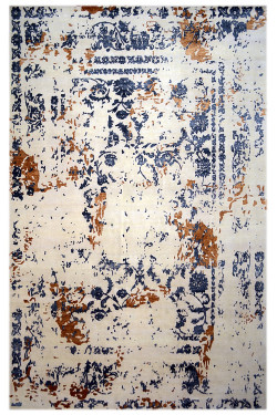 Handknotted Ivory Mustard Modern Wool Area Rug