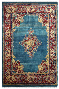 Turquoise Medallion Classic Handknotted Wool Carpet