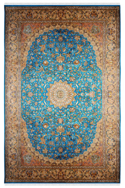 Turquoise Jewel Classic Handknotted Silk Carpet