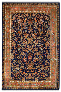 Beautiful Floral Garden Handmade Silk Rug