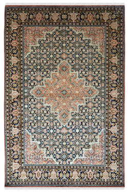 Persian Diamond Medallion Bidjar Handknotted Silk Rug