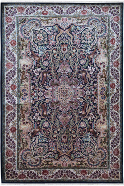 Chattering Birds Handknotted Silk Rug