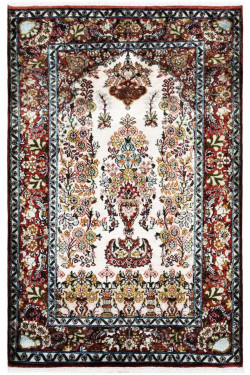 Ivory Floralpot Tree of Life Small Area Rug