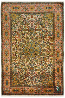 Floral Medallion Small Kashmiri Silk Floor Rug