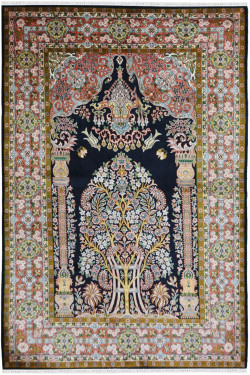 Victorian Floral Small Handknotted Silk on Silk Carpet