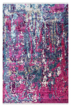 Deep Pink Spray Sari Silk Carpet
