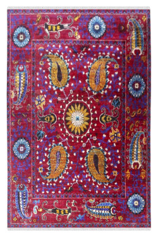 Traditional Rangoli Sari Silk Carpet