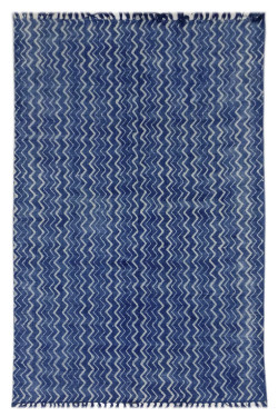 Indigo Splendor Cotton Block Printed Durry