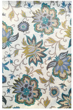 Turquoise Motifs Wool Handtufted Area Rug