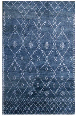 Blue Denim Handknotted Moroccan Area Rug