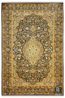 Kashan Gold and Blue Traditional Silk carpet
