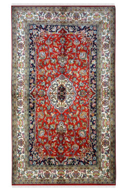 Ivory Border Red Small Handknotted Silk Area rug
