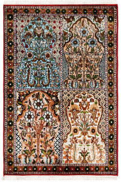 Small Size Hamadan Persian Design Kashmir Silk Area Rug