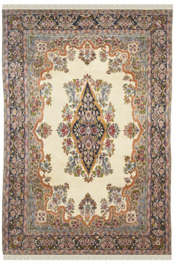 Kirman Afghan 5 by 7 Ivory Medallion Kashan Vintage Area Handmade Carpet
