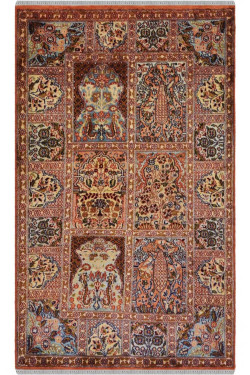 2 by 3 Small Size Multi-Color Qum Silk on Cotton Area Rug