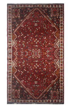 Open Afghan Red Vintage Antique Area Rug and carpet
