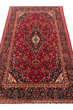 Rouge and Ivory Vintage Kashan Afghan Area carpet