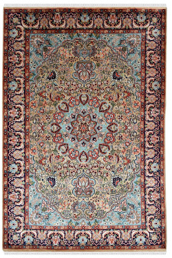 Persian Floral Kashan Pure Silk Ivory Handknotted Area Rug