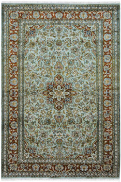 Green Medallion Handknotted Silk on Cotton Silk Rug