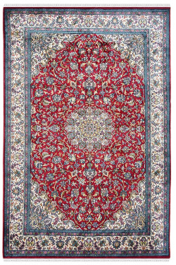 Persian Floral Kashan Motif Handknotted Silk Rug