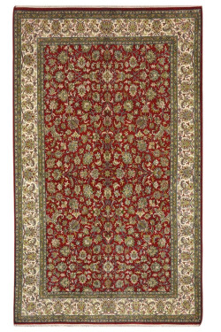 Rouge Floral red Pure Silk on Silk Area rug