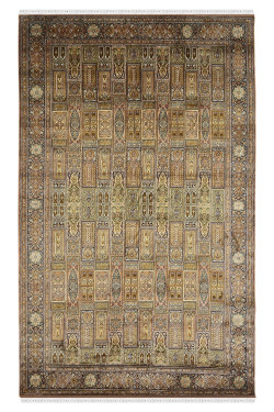 Gold Qum Medium Size Kashmiri Silk Carpet