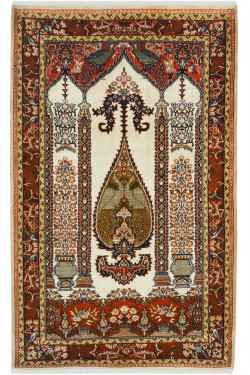 Traditional Persian Design Ivory Color Pure Wool Traditional Area Rug