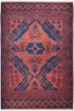 Rust Handknotted Small Size Traditional Afghani Area Rug