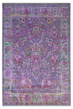 Purple Hazey Sari Silk Area Rug