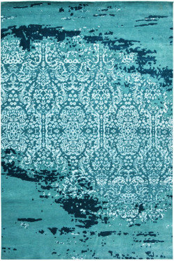 Sea Green Modern Designer  Large Handknotted Area Rug